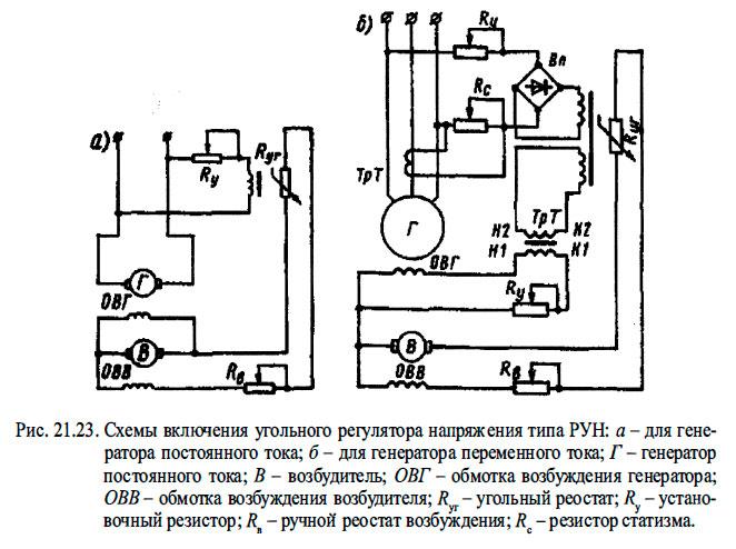 Схемы включения угольного регулятора напряжения типа РУН